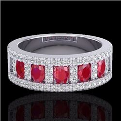 Natural 2.34 CTW Ruby & Micro Pave Diamond Designer Inspired Ring 10K White Gold - 20826-REF#-49Z2R