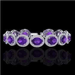 Natural 18 CTW Amethyst & Micro Pave Diamond Certified Bracelet 10K White Gold - 22677-REF#-212K2W