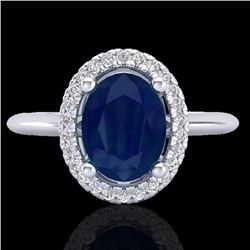 Natural 2 CTW Sapphire & Micro Pave Diamond Bridal Ring Solitaire Halo 18K White Gold - 21020-REF#-4