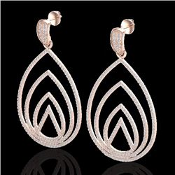 Natural 2.50 CTW Micro Pave Diamond Certified Designer Earrings 14K Rose Gold - 22477-REF#-177H8M