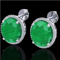 Natural 25 CTW Emerald & Micro Pave Diamond Certified Halo Earrings 18K White Gold - 20270-REF#-143M
