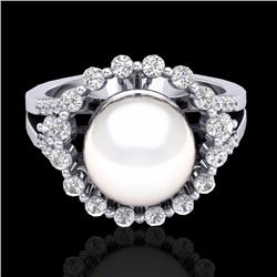 Natural .83 CT Micro Pave Diamond Certified & White Pearl Halo Ring 18K White Gold - 20706-REF#-62T4