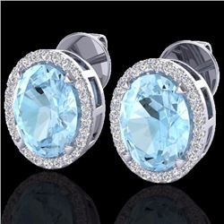 Natural 5.50 CTW Aquamarine & Micro Diamond Halo Solitaire Earrings Ring 18K White Gold - 20240-REF#