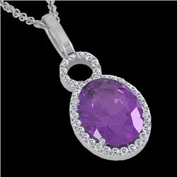 Natural 3 CTW Amethyst & Micro Pave Solitaire Halo Diamond Necklace 14K White Gold - 22750-REF#-34G8
