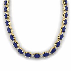 71.85 CTW SAPPHIRE & DIAMOND SI-I CERTIFIED ETERNITY TENNIS NECKLACE - 29518-#271H2R