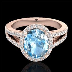 Natural 3 Sky Blue Topaz & Micro Diamond Halo Solitaire Bridal Ring 14K Rose Gold - 20932-REF#-46X7T
