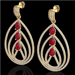 Natural 4 CTW Ruby & Micro Pave Diamond Certified Designer Earrings 18K Yellow Gold - 22458-REF#-204
