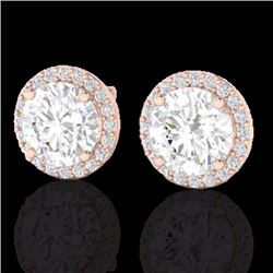 Natural 4 CTW Halo Diamond Certified Micro Pave Earrings Solitaire 14K Rose Gold - 21488-REF#-1124Y2