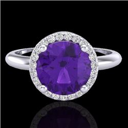 Natural 2 CTW Amethyst & Micro Pave Diamond Certified Ring Halo 18K White Gold - 23203-REF#-44T3K
