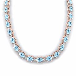 37.50 CTW AQUAMARINE & DIAMOND SI-I CERTIFIED ETERNITY TENNIS NECKLACE - 29417-#348V3F