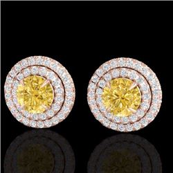 Natural 2 CTW Citrine & Micro Pave Diamond Stud Earrings Double Halo 14K Rose Gold - 21466-REF#-73T2