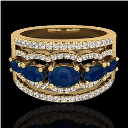 Natural 2.25 CTW Sapphire & Micro Pave Diamond Certified Designer Ring 10K Yellow Gold - 20805-REF#-