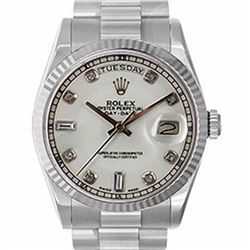 Pre-owned Excellent Condition Authentic Rolex Quickset Men's 18K White Gold Day-Date White Dial Watc