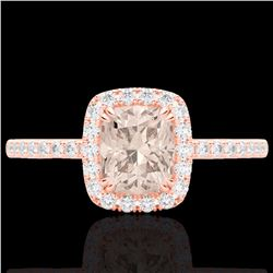 Natural 1.25 CTW Morganite & Micro Pave Diamond Certified Halo Ring 10K Rose Gold - 22907-REF#-32T8K
