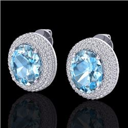 Natural 10 CTW Sky Blue Topaz & Micro Pave Diamond Certified Earrings 18K White Gold - 20218-REF#-10