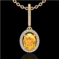 Natural 1.75 CTW Citrine & Micro Pave Diamond Necklace Solitaire Halo 18K Yellow Gold - 20657-REF#-4