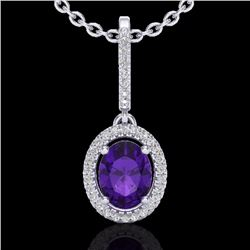 Natural 1.75 CTW Amethyst & Micro Pave Diamond Necklace Solitaire Halo 18K White Gold - 20647-REF#-4