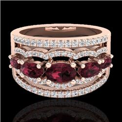 Natural 2.25 CTW Garnet & Micro Pave Diamond Certified Designer Ring 10K Rose Gold - 21037-REF#-59K5