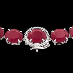 Natural 127 CTW Ruby & Diamond Halo Micro Eternity Necklace 14K White Gold - 22312-REF#-442V8Y