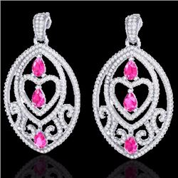 Natural 7 CTW PINK Sapphire & Micro Pave Diamond Heart Earrings IN 18K White Gold - 21156-REF#-254M5