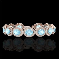 Natural 17 CTW Aquamarine & Micro Pave Diamond Certified Bracelet 10K Rose Gold - 22681-REF#-255N2A