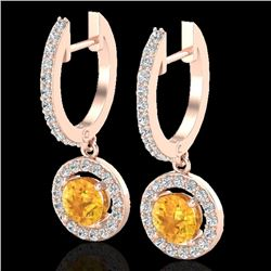 Natural 1.75 CTW Citrine & Micro Pave Halo Solitaire Diamond Earrings 14K Rose Gold - 23249-REF#-57V
