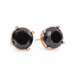 Natural 1.0 ctw Black Diamond Solitaire Stud Earrings 18K Rose Gold - 14172-#24X2Y