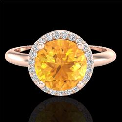 Natural 2 CTW Citrine & Micro Diamond Certified Ring Designer Halo 14K Rose Gold - 23207-REF#-38M3F