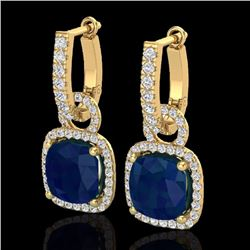 Natural 6 CTW Sapphire & Micro Pave Diamond Certified Earrings 18K Yellow Gold - 22971-REF#-83M5F