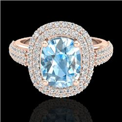 Natural 3.50 CTW Topaz & Micro Pave Diamond Certified Halo Ring 10K Rose Gold - 20708-REF#-75F3V