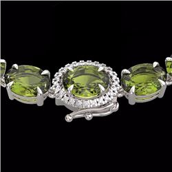 Natural 66 CTW Green Tourmaline & Diamond Tennis Micro Halo Necklace 14K White Gold - 23465-REF#-380