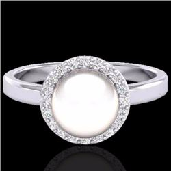 Natural .25 CTW Micro Pave Halo Diamond Certified & White Pearl Ring 18K White Gold - 21646-REF#-47Z