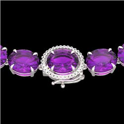 Natural 102 CTW Amethyst & Diamond Halo Micro Eternity Necklace 14K White Gold - 22286-REF#-271W7G