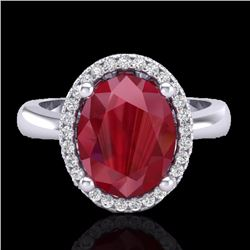 Natural 3 CTW Ruby & Micro Pave Diamond Certified Ring Halo 18K White Gold - 21112-REF#-38N8A