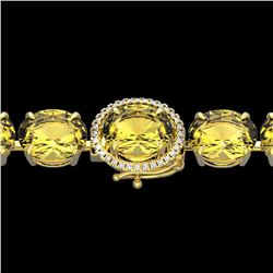 Natural 40 CTW Citrine & Micro Pave Diamond Halo Bracelet 14K Yellow Gold - 22256-REF#-125W7G