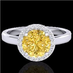 Natural 2 CTW Citrine & Halo Diamond Micro Pave Ring Solitaire Bridal 18K White Gold - 21626-REF#-47