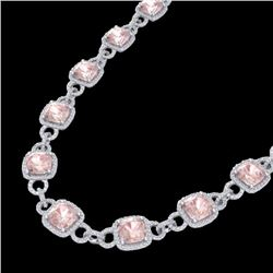 Natural 49 CTW Morganite & Micro Diamond Certified Eternity Necklace 14K White Gold - 23046-REF#-961