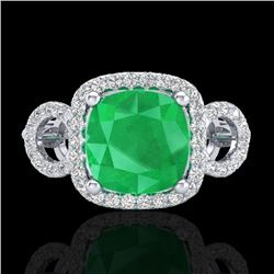 Natural 3.15 CTW Emerald & Micro Diamond Certified Ring 18K White Gold - 23001-REF#-69N2A