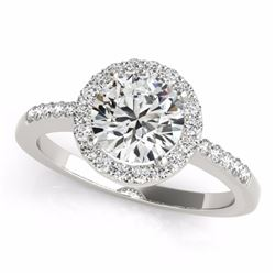 0.50 CTW Certified SI-I Diamond Bridal Solitaire Halo Ring 18K White Gold - 26320-#57G5M