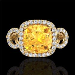 Natural 3.75 CTW Citrine & Micro Diamond Certified Ring 18K Yellow Gold - 23000-REF#-69A8X