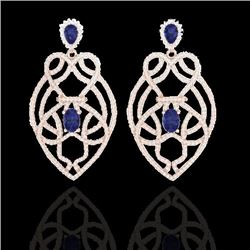 Natural 7 CTW Tanzanite & Micro Diamond Heart Earrings Solitaire 14K Rose Gold - 21142-REF#-237M6F