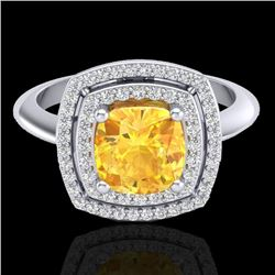 Natural 1.50 CTW Citrine & Micro Diamond Certified Pave Halo Ring 18K White Gold - 20757-REF#-69R5H