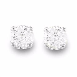 Genuine 0.50 ctw Diamond Solitaire Stud Earrings 14K White Gold - 12263-#33A3N
