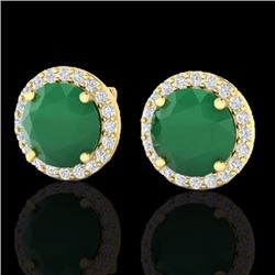 Natural 4 CTW Emerald & Halo Diamond Micro Pave Earrings Solitaire 18K Yellow Gold - 21492-REF#-53T5