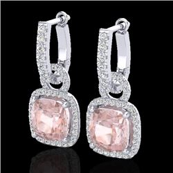Natural 5.50 CTW Morganite & Micro Pave Diamond Certified Halo Earrings 18K White Gold - 22966-REF#-