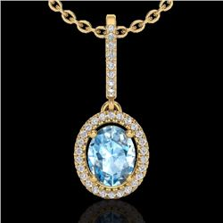 Natural 2 CTW Sky Blue Topaz & Micro Diamond Necklace Solitaire Halo 18K Yellow Gold - 20654-REF#-47