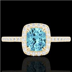 Natural 1.25 CTW Sky Blue Topaz & Micro Pave Diamond Certified Halo Ring 10K Yellow Gold - 22914-REF
