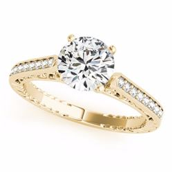 0.50 CTW Certified SI-I Diamond Solitaire Bridal Antique Ring 18K Yellow - 27368-#64H8W