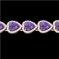 Natural 23 CTW Amethyst & Micro Pave Bracelet Heart Halo IN 14K Rose Gold - 22610-REF#-260H3M