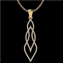 Natural .80 CTW Micro Pave Diamond Certified Necklace 14K Yellow Gold - 20388-REF#-58V2Y